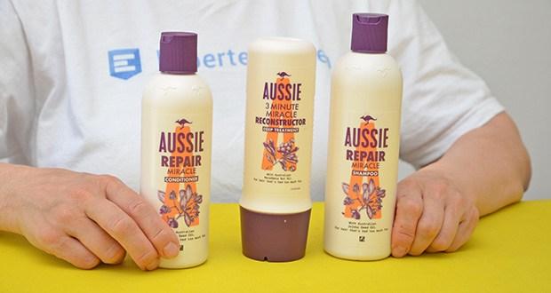 Aussie Haarpflege Set im Test - Set bestehend aus: 1x Aussie Repair Miracle Shampoo 300ml, 1x Aussie Repair Miracle Pflegespülung 250ml, 1x Aussie Reconstructor Intensivpflege 250ml