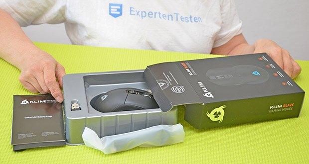 KLIM Blaze kabellose RGB Gaming Maus im Test - Produktabmessungen : 12.5 x 17.5 x 3.95 cm; Gewicht: 110 Gramm