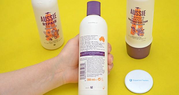 Aussie Haarpflege Set im Test - Shampoo: In das nasse Haar einmassieren. Ausspülen und anschließend die Aussie Repair Miracle Pflegespülung verwenden