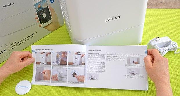 BONECO Hybrid Luftbefeuchter & Luftreiniger H300 im Test - dank integriertem Sensor misst das Gerät die relative Luftfeuchtigkeit in Echtzeit und passt seine Verdunsterleistung automatisch an