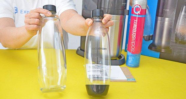 SodaStream Wassersprudler DUO im Test - die neue Glasflasche kommt mit einem max. Fassungsvermögen von 1 Liter und ist wie die Kunststoffflasche ebenfalls spülmaschinengeeignet