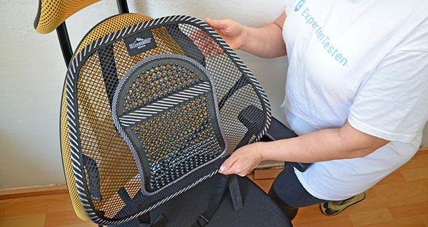 Donnerberg Lordosenstütze im Test - durch Ihre europäische Größe passt sich die Lordosenstütze jeder Stuhllehne an und unterstützt den ganzen Rücken