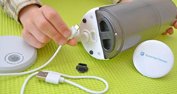 Farsaw Automatischer Seifenspender im Test - mit eingebauter 1200mAh Lithiumbatterie ist der Spender durch USB aufladbar
