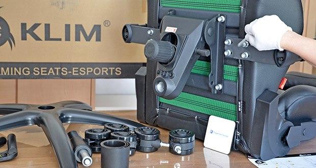 KLIM Esports Gaming Stuhl im Test - die Montage des Stuhls erfolgt einfach und ohne Anstrengung in ca. 15 Minuten
