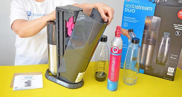 SodaStream Wassersprudler DUO im Test - Maße (Höhe): 44 cm (offen / geschlossen); Betriebsart: kabellos