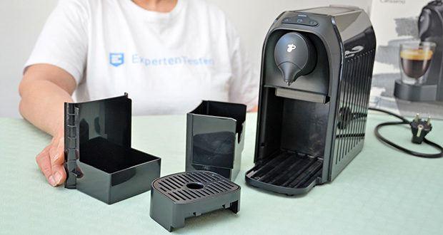 Tchibo Kapselmaschine Cafissimo Easy im Test - Kapselauffangbehälter: frontal entnehmbar; Kapazität Kapselauffangbehälter: 4 Kapseln