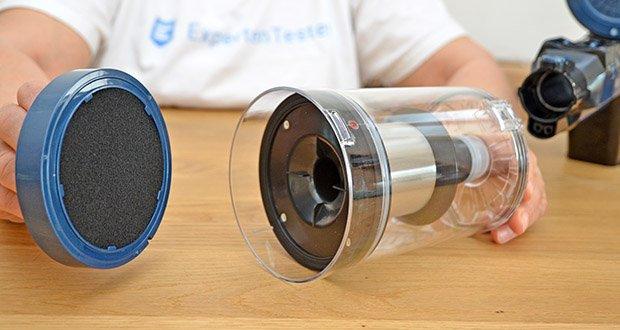 Proscenic Akku Handstaubsauger P10 Pro im Test - Filtersystem verfügt über den Metallfilter, Schwammfilter und Hepa-Filter