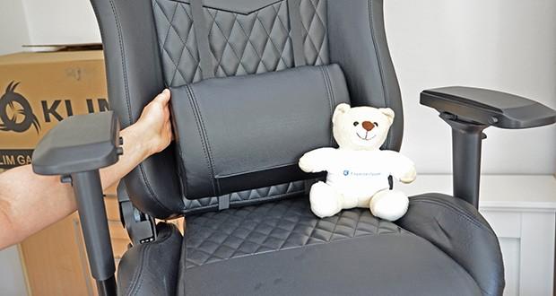 KLIM Esports Gaming Stuhl im Test - der dichte Schaum hilft Dir dabei deine Haltung zu verbessern und die Lenden- und Nackenstützen passen sich perfekt deinem Rücken an