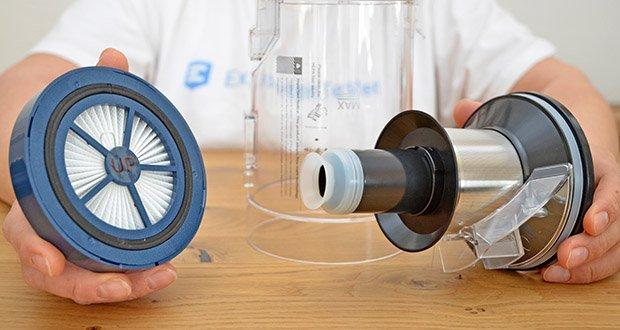 Proscenic Akku Handstaubsauger P10 Pro im Test - mit einzigartiger leistungsstarker Zyklontechnologie sind allen Mikronstaub effekt im Staubbehälter zu instolieren, um frische Luft abzulassen