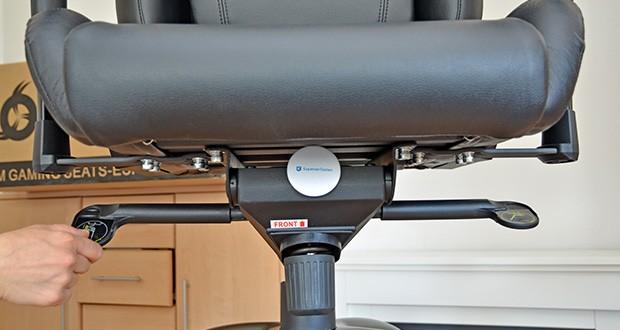 KLIM Esports Gaming Stuhl im Test - du kannst die Höhe des Stuhls einstellen und die Lehne bis 160° neigen, was einer fast waagrechten Position entspricht