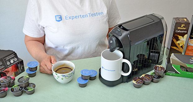Tchibo Kapselmaschine Cafissimo Easy im Test - Voreinstellung Brühmenge: Espresso ca. 40 ml, Caffè Crema ca. 125 ml, Kaffee ca. 125 ml