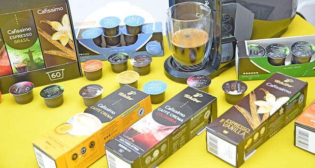Tchibo Cafissimo Kapselkoffer Spesial Collection im Test - Probierset aus je 10 Kapseln Caffè Crema Colombia, Caffè Crema Vollmundig, Caffè Crema Mild, Kaffee Mild, Espresso Brasil, Espresso Flavoured Edition Vanilla