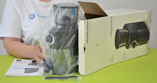 Tchibo Elektrische Kaffeemühle Einsteigermodell im Test - Maße: BxHxT: ca. 10 x 28,5 x 17 cm (platzsparend, schmal)