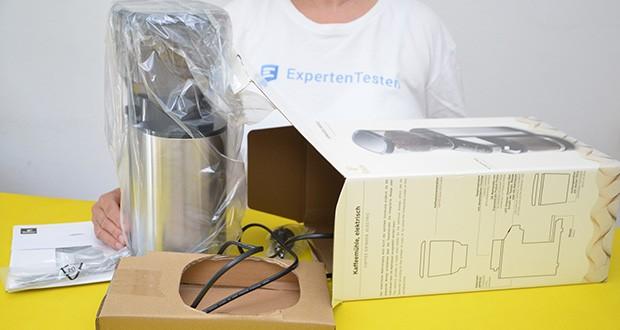 Elektrische Kaffeemühle mit Edelstahlgehäuse im Test - Maße B x H x T: ca. 14 x 35 x 23 cm