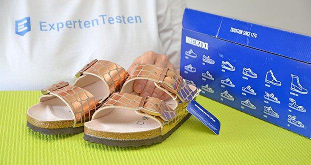 Birkenstock Arizona Gator Gleam Copper Sandalen im Test - äußeres Material: Synthetisch