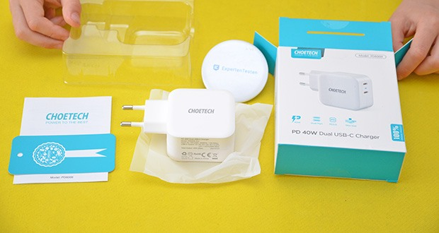 Choetech USB C Ladegerät im Test - Lieferumfang: 1x Dual 40W USB C PD Ladegerät, 1x Bedienungsanleitung