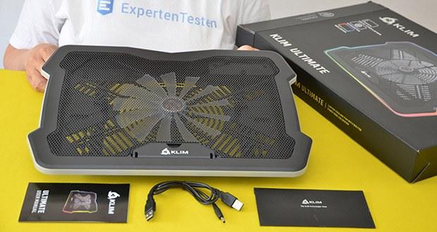 KLIM Ultimate Laptop-RGB-Kühler im Test - der leistungsstarke und beeindruckende 200-mm-Lüfter
