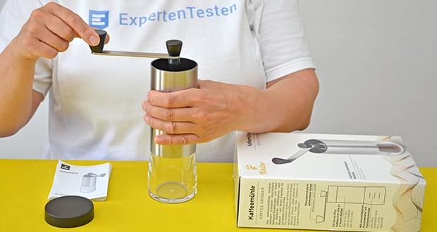 Tchibo Handmühle im Test - Farbe: Hand-Kurbel silberfarben, Griff schwarz, Korpus silberfarben, Pulverbehälter transparent