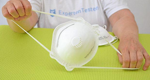 Transatlantic Atemschutzmasken FFP3 NR, mit Ventil und Kopfband im Test - hat eine anatomische Form, die durch einen biegsamen Nasenbügel und einen inneren Dichtungsschaum gewährleistet wird