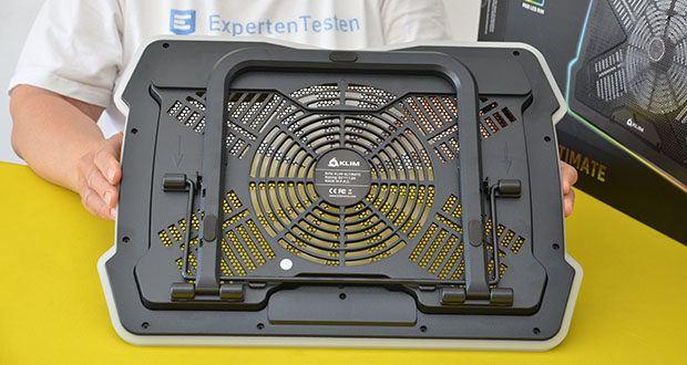 KLIM Ultimate Laptop-RGB-Kühler im Test - kann aufgrund seines robusten Designs problemlos von einem Ort zum anderen bewegt werden