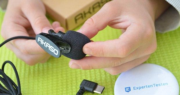 AKASO externes Mikrofon für Action Cam im Test - hat ein erstaunlich flexibles geflochtenes Kabel und einen Clip
