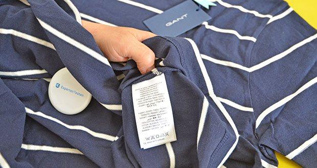 GANT Herren Breton Stripe Ss T-Shirt im Test - Pflegehinweis: Maschinenwäsche