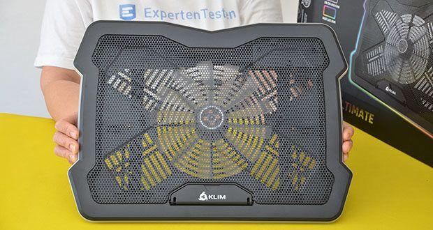 KLIM Ultimate Laptop-RGB-Kühler im Test - dreht sich mit 750 U/min und erzeugt einen Luftstrom, der Deinen Laptop in Rekordzeit kühlt