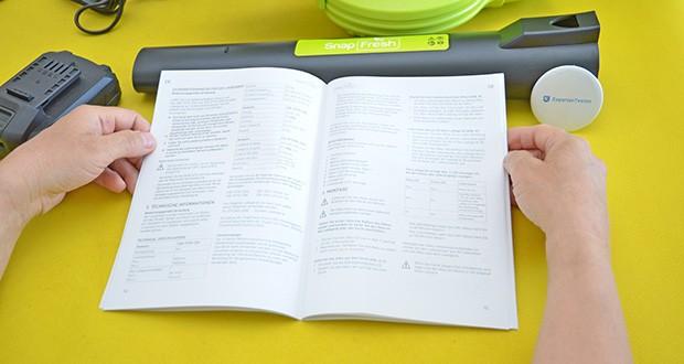 SnapFresh Akku Laubbläser im Test - kann bis zu 15-30 Minuten ununterbrochen arbeiten (abhängig von Geschwindigkeit)