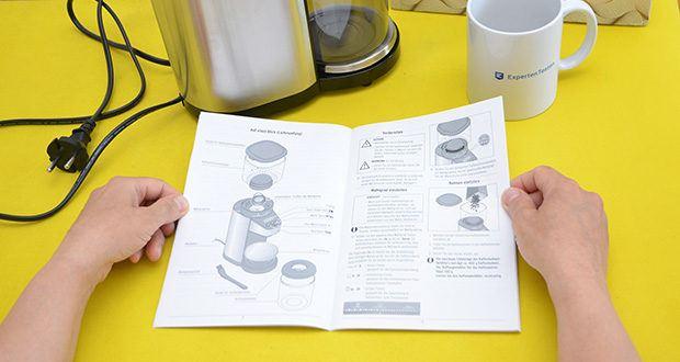 Elektrische Kaffeemühle mit Edelstahlgehäuse im Test - Dosierung durch Auswahl der Tassenanzahl, mit der integrierten Waage, oder der ausgewählten Mahldauer möglich