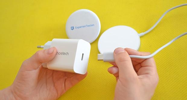 Choetech MagSafe kabellos Ladegerät 20W im Test - schließen Sie das Kabel an das Wandladegerät an und Sie sind bereit
