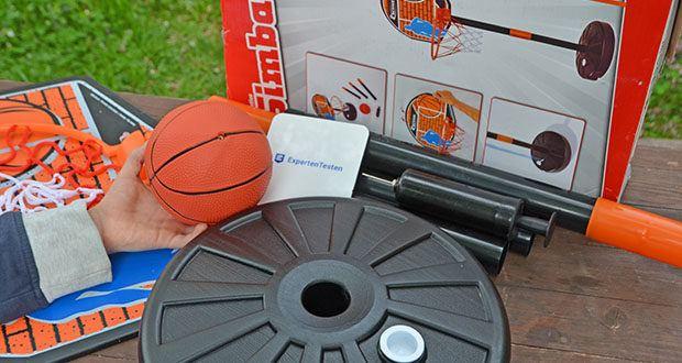 Simba Basketball Set im Test - der Sockel kann mit Sand oder Wasser gefüllt werden damit der Korb stabil steht