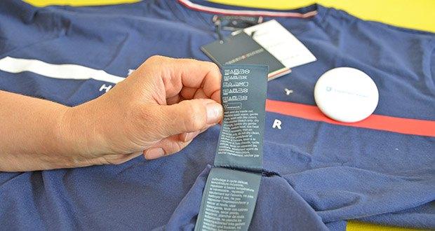 Tommy Hilfiger Herren Global Stripe Chest Tee T-Shirt im Test - Pflegehinweis: Maschinenwäsche