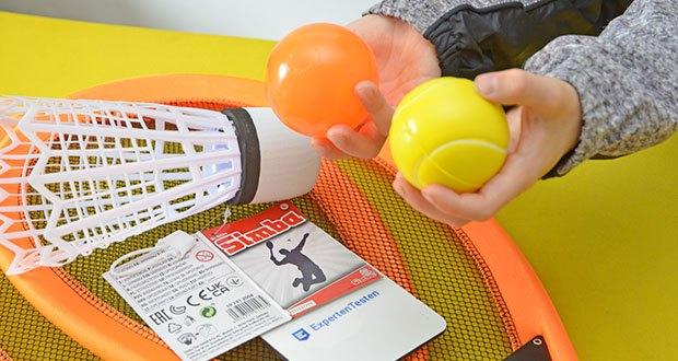 Simba Giant Badminton Set im Test - mit zwei Schlägern und drei unterschiedlichen Bällen