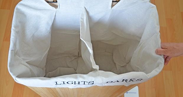 SONGMICS Wäschekorb aus Bambus 100L im Test - 100 L Fassungsvermögen und einfache Kleidersortierung