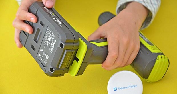 SnapFresh 20V Akkuschrauber Set im Test - der mitgelieferte 20V 2000mAh Lithium-Ionen-Akku kann in 1 Stunde schnell aufgeladen werden, was Ihnen Wartezeit erspart