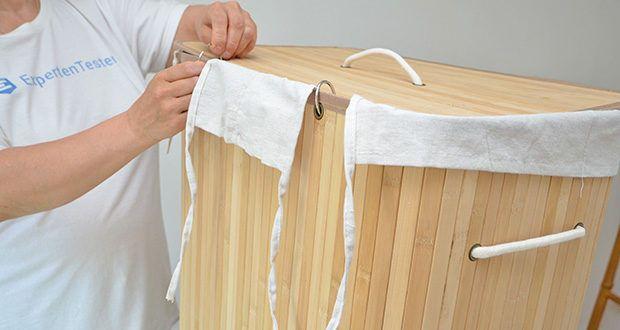 SONGMICS Wäschekorb aus Bambus 100L im Test - die Wäschesack ist waschbar bis 30°C