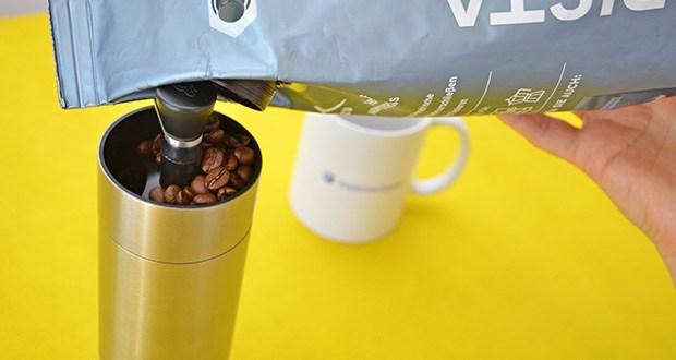 Tchibo Handmühle im Test - Füllmenge: für bis zu 30 g Kaffee (ca. 4 Tassen Kaffee)