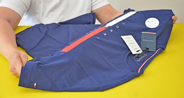 Tommy Hilfiger Herren Global Stripe Chest Tee T-Shirt im Test - wurde nachhaltig mit nachhaltigen Materialien hergestellt