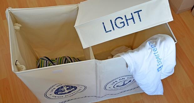 WENKO Wäschekorb Duo Sylt im Test - die Sammler bieten durch ihre Fächer für dunkle, weiße oder farbige Wäsche die Möglichkeit der Vorsortierung