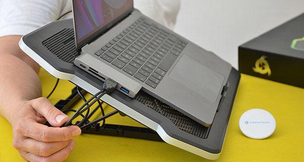 KLIM Ultimate Laptop-RGB-Kühler im Test - trägt ohne Probleme das Gewicht Deines Laptops