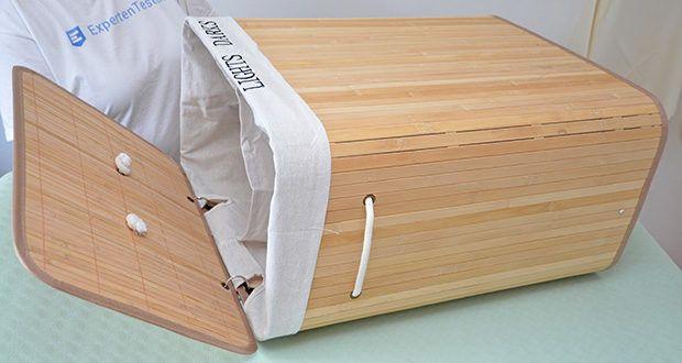SONGMICS Wäschekorb aus Bambus 100L im Test - der Deckel wird durch einen Metallring mit dem Mantel verbunden, um den Ausfall oder die Einsenkung des Deckels zu vermeiden