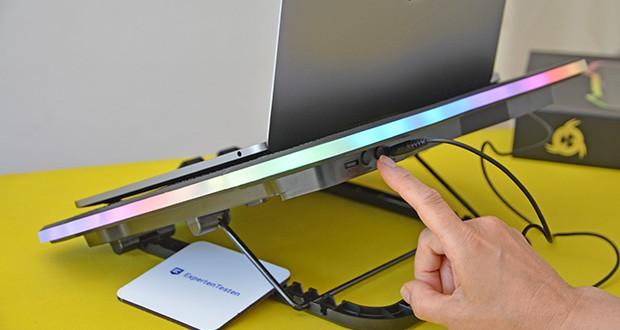 KLIM Ultimate Laptop-RGB-Kühler im Test - innovative RGB-Beleuchtung bietet Dir nicht weniger als 5 Effekte und 7 Farben, ganz nach Deinen Wünschen