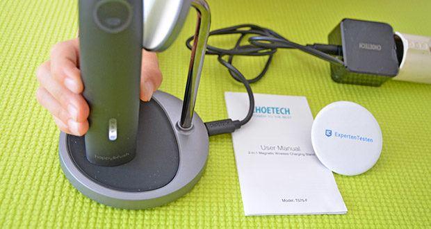 Choetech MagSafe kabellos Ladegerät 30W im Test - während des Ladevorgangs wird die LED-Anzeige abgeblendet