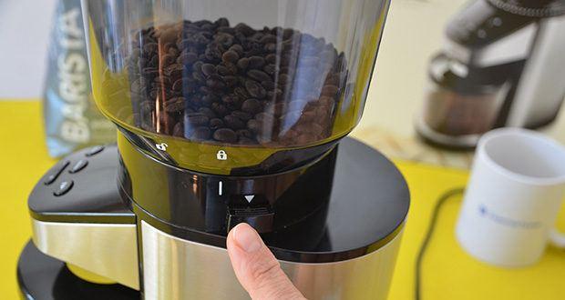 Elektrische Kaffeemühle mit Edelstahlgehäuse im Test - 26 verschiedene Mahlgradstufen