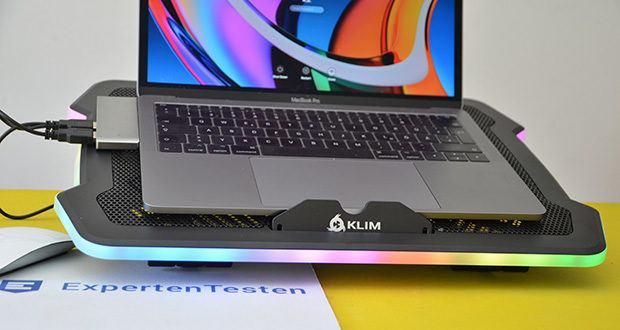 KLIM Ultimate Laptop-RGB-Kühler im Test - ist nicht nur eine Kühlbasis mit wechselnden Farben, sondern kombiniert außerdem Stil und Effizienz