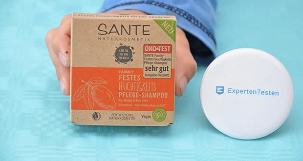 SANTE Naturkosmetik Bio festes Shampoo Bar im Test - feuchtigkeits Pflege-Shampoo mit Bio-Aloe Vera und Mango spendet intensive Feuchtigkeit