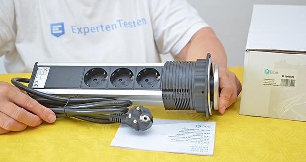 Elbe Inno versenkbare Tischsteckdosenleiste im Test - Lieferumfang: 1x Einbauanleitung, 1x Versenkabre Tischsteckdose