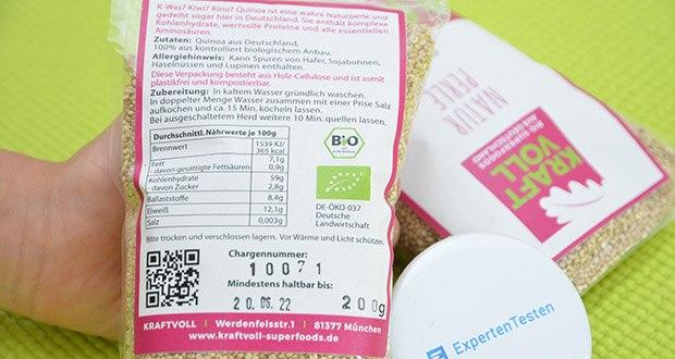 KRAFTVOLL Bio Quinoa im Test - Zutaten: Quinoa aus Deutschland, 100% aus kontrolliert biologischem Anbau