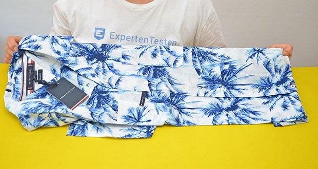 Tommy Hilfiger Herren Large Water Color Palm Hemd im Test - Farbe: Weiß / Pigment Blue
