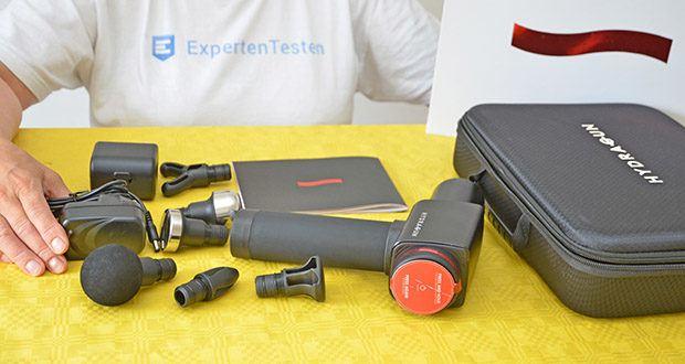 Hydragun Massagepistole im Test - Lieferumfang: 1x Hydragun Schlagtherapie Massagegerät, 6x wechselbare Massageköpfe, 1x Ladegerät, 1x Benutzerhandbuch, 1x Tragbare Tragetasche